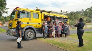 bobbi bear team by fire truck